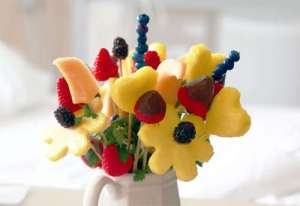 Bouquet of edible fruits resembling flowers