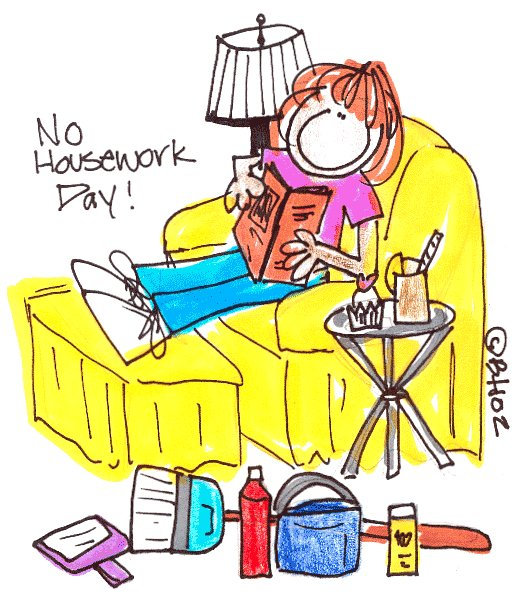 Cartoon image of a woman sitting with her feet up reading a book with cleaning supplies sitting along side unused.