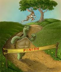 Tortoise reaching the finish line ahead of the hare.