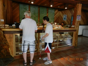 Bruce and Tim ordering at the Puerto Viejo Bakery