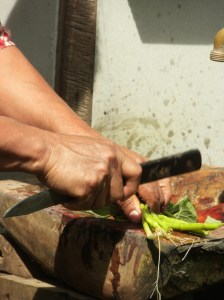 Handle of a knife is used to pound leaves