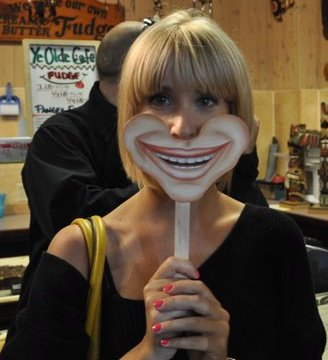 with smiley mask